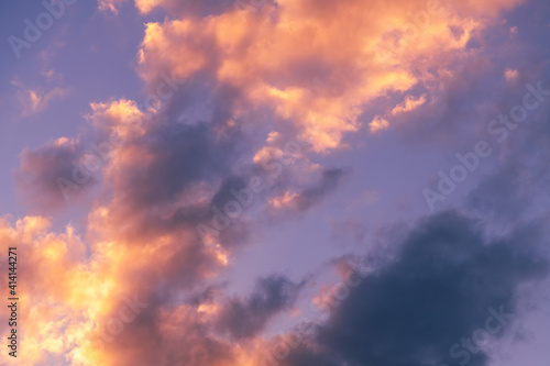 Fototapeta Natural sky background. Bright sunset with orange clouds. obraz