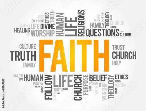 Fototapeta Faith word cloud collage , social concept background