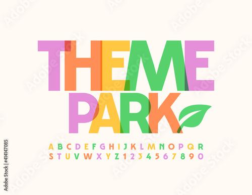 Fényképezés Vector colorful sign Theme Park with Decorative Leaf