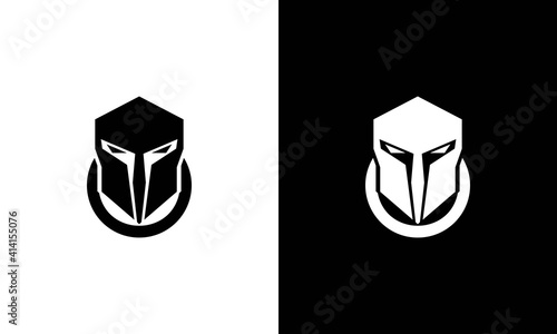 Fotografie, Obraz Knight helmet logo, spartan icon design, chinese warrior symbol, viking head ill