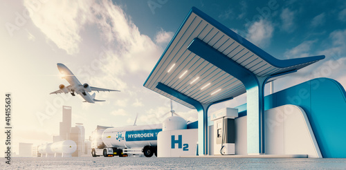 Fototapeta Future of hydrogen energy. Hydrogen gas station with truck, jet and city in the background. 3d rendering. obraz