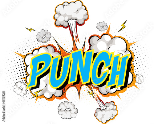 Word Punch on comic cloud explosion background #414159211
