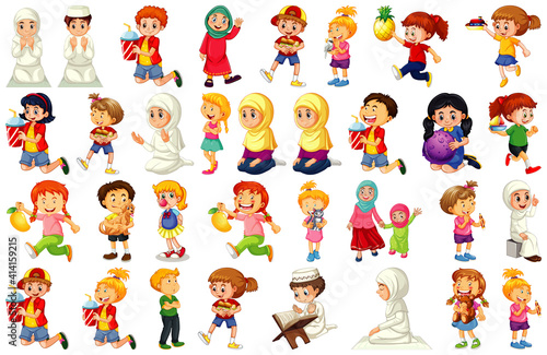 Children doing different activities cartoon character set on white background #414159215
