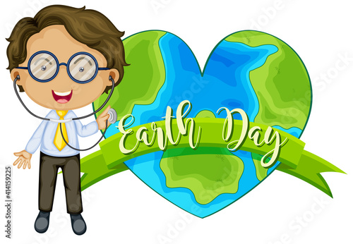 Earth in heart shape with a doctor cartoon character #414159225