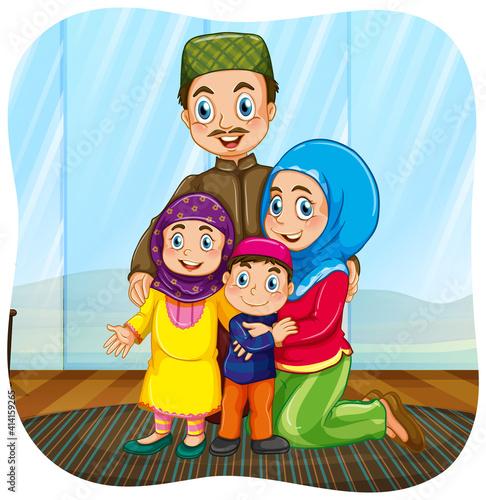 Cute muslim family cartoon character #414159265