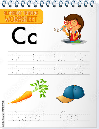Alphabet tracing worksheet with letter and vocabulary #414159278