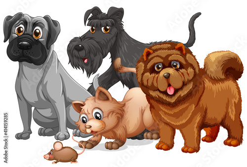 Dog and cat in a group cartoon character #414159285