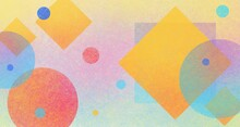 Abstract Background With Colorful Shapes And Texture, Circles Diamonds And Square Shapes Layered In Geometric Pattern