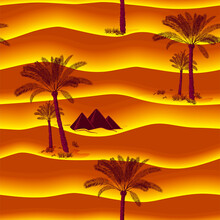 Seamless Pattern With Palm Trees And Egypt Pyramids In The Orange Desert. Sunset, Time In The Evening. Hand Drawn Vector Illustration. Sketch. Abstract Waves, Dunes, 3d Relief, Curved Lines. Good For