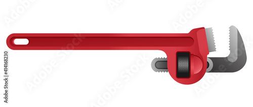 Fototapeta Spanner pipe wrench - isolated vector illustration