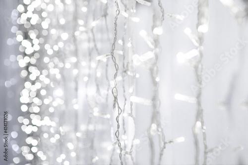 Obraz zasłona z LED światła  - fototapety do salonu