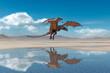 dragon is landing on desert after rain