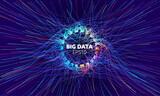 Fototapeta Do przedpokoju - Big data vector circle background. Visual sort analysis. Wave flow data. Bigdata stream design.