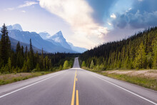 Scenic Road In The Canadian Rockies. Colorful Sunset Sky Art Render. Taken In Icefields Parkway, Banff National Park, Alberta, Canada. Panorama Background