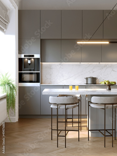 Fototapeta 3d rendering of a modern grey kitchen with white marble backsplash, an island and contemporary stools, vertical closeup obraz