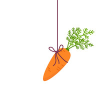 Carrot Hanging From Above Vector Incentive Concept