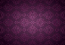 Oriental Vintage Background With Indo-Persian Ornaments. Royal, Luxurious, Horizontal Textured Wallpaper In Purple, Plum Color, With Darkening At The Edges, Vignette. Vector Illustration