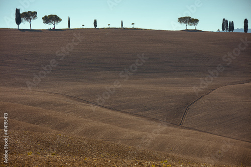 Fototapeta premium landscape with agricultural field, hills and trees