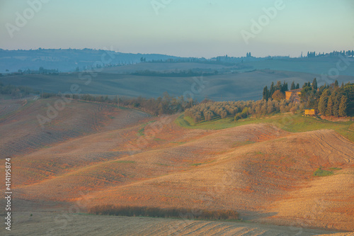 Fototapeta premium landscape with agricultural field and hills