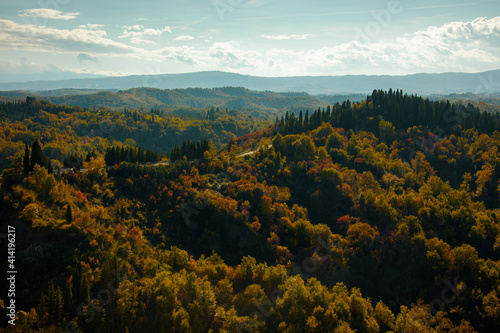 Fototapeta premium landscape with forest in Tuscany, Italy in autumn