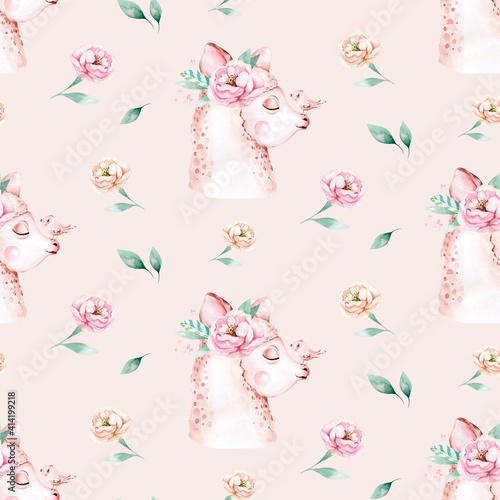 Fototapeta premium Watercolor painting seamless pattern with white cute llama animal. Llamas cartoon america. Boho cactus textile design, Baby girl decoration, baby shower art