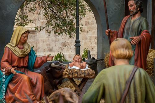 Valokuvatapetti The birth of Jesus Christ, a religious scene from Christianity