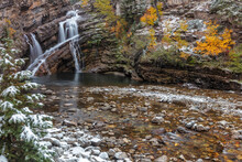 Cameron Falls In Autumn In Waterton Lakes National Park, Alberta, Canada