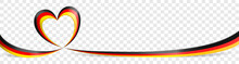 Germany German Flag Heart Ribbon Banner On Transparent Background Isolated Vector Illustration