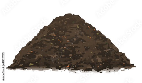 Obraz na plátně One big brown heap of organic compost in side view isolated illustration, fertil