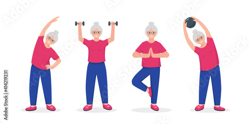 Fototapeta Senior woman doing exercises set obraz