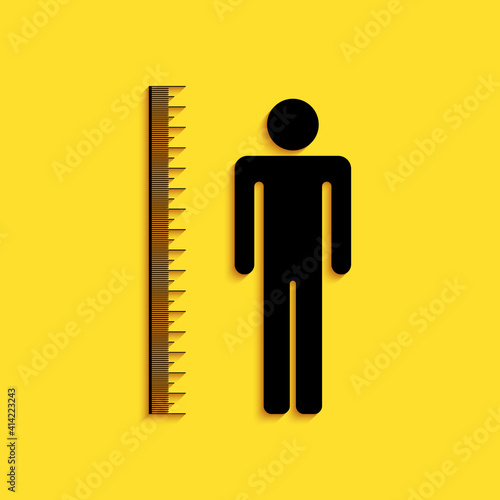 Cuadros en Lienzo Black Measuring height body icon isolated on yellow background