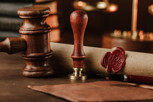 Stamp, Gavel And Testament. Notary Public Tools.