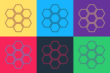 Pop Art Honeycomb Sign Icon Isolated On Color Background. Honey Cells Symbol. Sweet Natural Food. Vector.