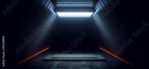 Foto Dark Sci Fi Futuristic Cyber Stage Podium Neon Orange White Led Spotlight Glowin