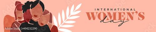 Fotografie, Tablou Women's Day abstract art diverse girl group banner