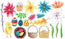 Hand Painted Watercolor Easter Elements Isolated On White Background. Flowers, Pussy Willow, Grass, Easter Eggs, Basket, Feathers, Chick And Easter Nest.