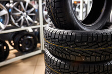 Closeup Of Car Tire, Replacement Of Winter And Summer Tires. Cars, Automobile Concept