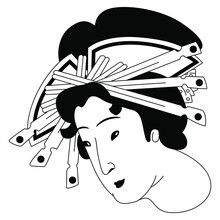 Head Of Japanese Woman With Elaborate Hairdo. Traditional Style. Black And White Silhouette.