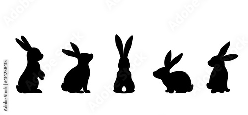 Fotografija Silhouettes of easter bunnies isolated on a white background