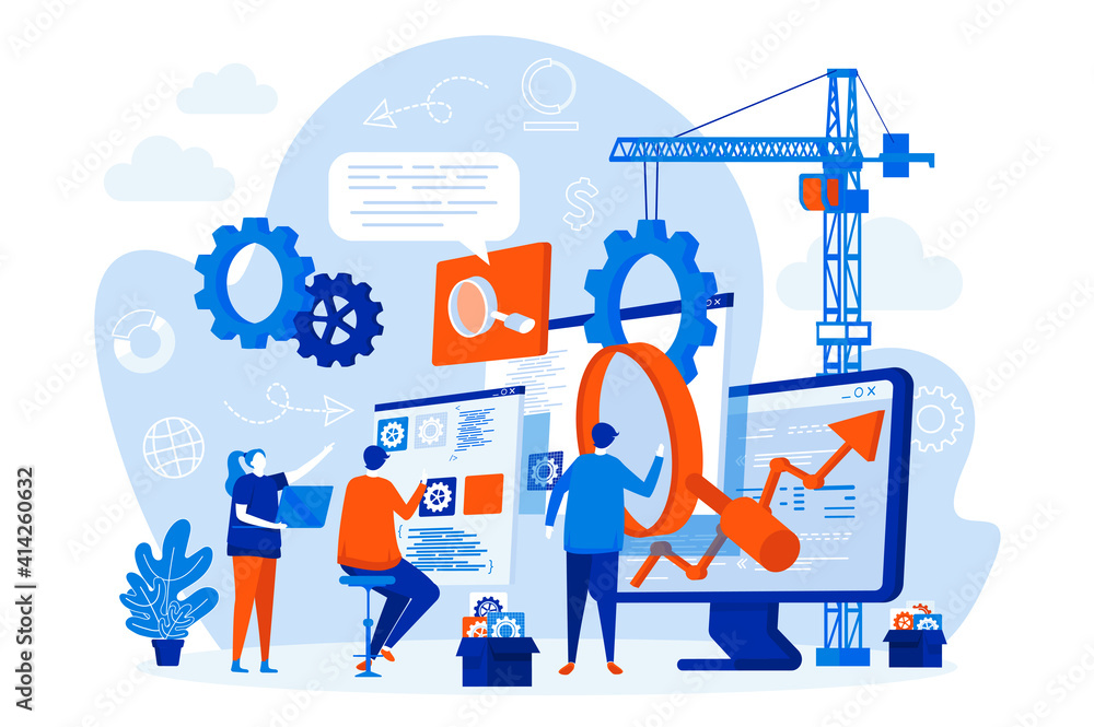 Fototapeta SEO optimization web design with people. SEO team analyzing data scene. Website optimization for relevant searches composition in flat style. Vector illustration for social media promotional materials