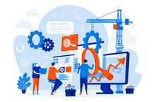 SEO Optimization Web Design With People. SEO Team Analyzing Data Scene. Website Optimization For Relevant Searches Composition In Flat Style. Vector Illustration For Social Media Promotional Materials