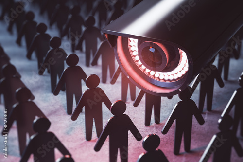 Photo Video surveillance and technology concept with CCTV camera and figures of people