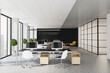 canvas print picture - Modern sunny openspace office with monochrome color furniture, big window and wooden details