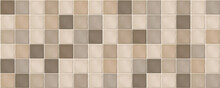 Beige Rustic Mosaic Ceramic Tiles. Seamless Pattern, Mosaic Of Square Beige And Brown Rustic Tiles.