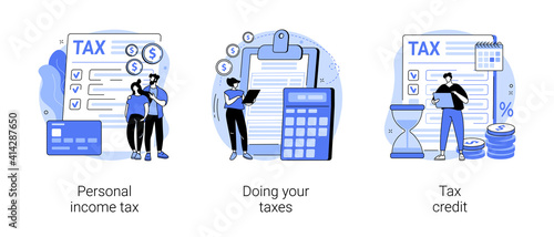 Years tax bill abstract concept vector illustration set. Personal income taxation and tax credit, online IRS form, bank account, budget planning calculator, bill payment abstract metaphor. © Visual Generation