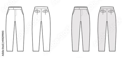 Leinwand Poster Short capri pants technical fashion illustration with mid-calf length, normal waist, high rise, slashed, flap pocket