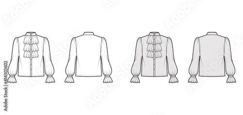 Tableau sur Toile Poet pirate blouse technical fashion illustration with ruffles collar, bishop long sleeves, stand neck, loose fit, button up