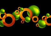 Glossy Green Orange Abstract Circles And Balls Geometric Background. Technology Vector Design