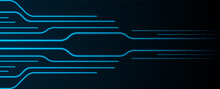 Glowing Blue Neon Circuit Board Lines Abstract Banner Design. Technology Vector Background