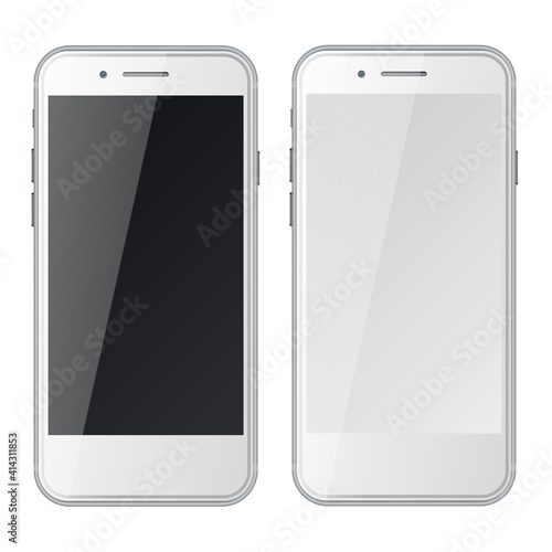 Smart phones with black and blank screens isolated on white background. #414311853